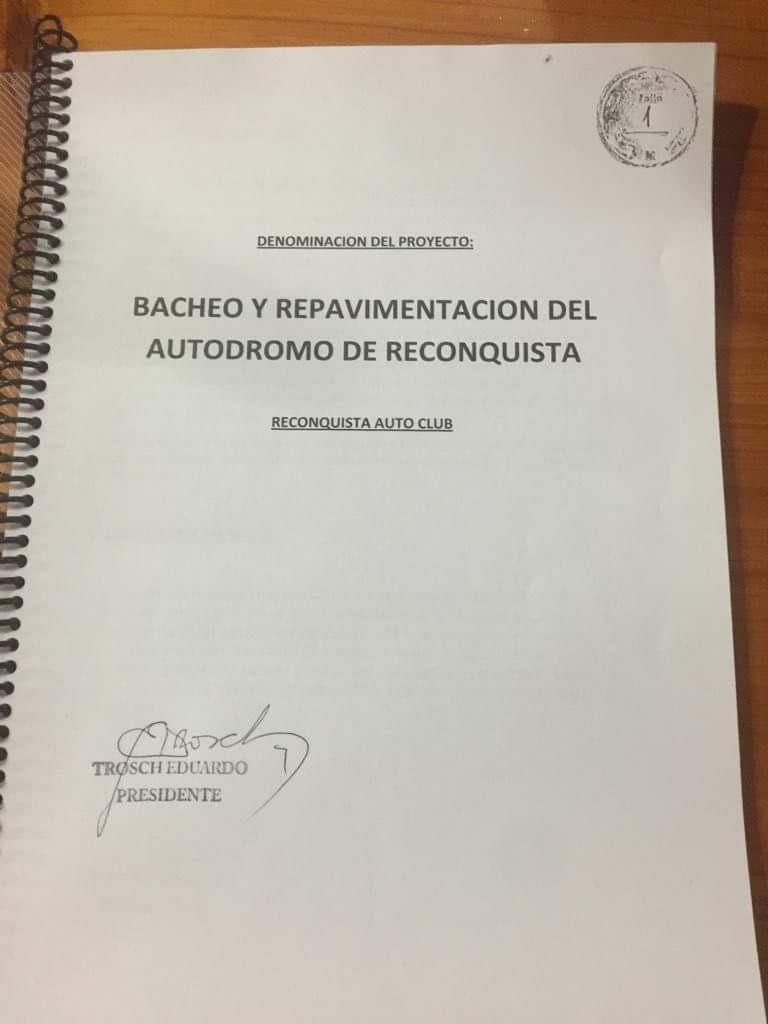 EL RECONQUISTA AUTO CLUB PRESENTO UN PROYECTO INTEGRAL DE REPARACION ANTE EL INTENDENTE.
